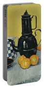 Still Life With Blue Enamel Coffeepot, Earthenware And Fruit, 1888 Portable Battery Charger