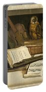Still Life With Books Sheet Music Violin Celestial Globe And An Owl Portable Battery Charger