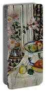 Still Life With Daisies And Fruit Portable Battery Charger