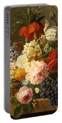 Still Life With Flowers And Fruit Portable Battery Charger by Jan Frans van Dael
