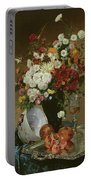 Still Life With Flowers And Pomegranates Portable Battery Charger