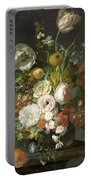 Still Life With Flowers In A Glass Vase Portable Battery Charger