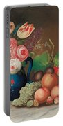 Still Life With Fruit And Flowers Portable Battery Charger by William Buelow Gould