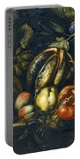 Still Life With Melons Apples Cherries Figs And Grapes On A Stone Ledge Portable Battery Charger
