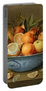 Still Life With Oranges And Lemons In A Wan-li Porcelain Dish  Portable Battery Charger