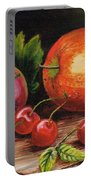 Still Life With Peaches And Cherries  Portable Battery Charger