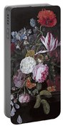 Still Life With Peonies Roses Irises Poppies And A Tulip With Butterflies A Dragonfly And Other Inse Portable Battery Charger