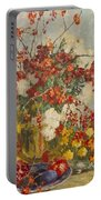 Still Life With Pink Flowers Portable Battery Charger