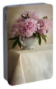 Still Life With Pink Peonies Portable Battery Charger