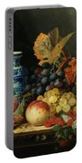 Still Life With Rasberries Portable Battery Charger