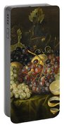 Still Life With Red Black And Green Grapes Portable Battery Charger
