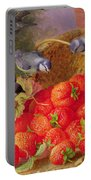 Still Life With Strawberries And Bluetits Portable Battery Charger by Eloise Harriet Stannard
