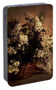 Still Life With White Flowers In The Basket Portable Battery Charger