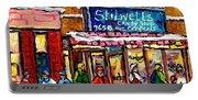 Stilwell's Candy Shop Montreal Memories Lasalle Verdun Winter City Scene Hockey Art Carole Spandau   Portable Battery Charger