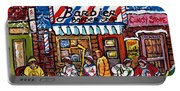 Stilwell's Candy Stop Winterscene Painting For Sale Montreal Hockey Art C Spandau Snowy Barber Shop Portable Battery Charger