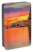 Stockholm Fiery Sunset Reflection Portable Battery Charger