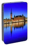 Stockholm Riddarholmen Blue Hour Reflection Portable Battery Charger