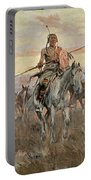 Stolen Horses Portable Battery Charger by Charles Marion Russell