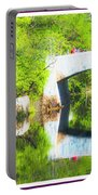 Stone Bridge, Canal And Bougainivillea Portable Battery Charger