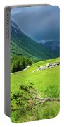 Storm Approaching Over Beautiful Green Field In Norway Portable Battery Charger