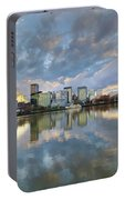 Storm Clouds Over Portland Skyline During Sunset Portable Battery Charger