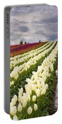 Storm Over Tulips Portable Battery Charger by Mike  Dawson