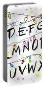 Stranger Things Alphabet Wall Christmas Lights Portable Battery Charger by Olga Shvartsur