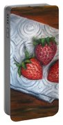 Strawberries-3 Contemporary Oil Painting Portable Battery Charger by Natalja Picugina