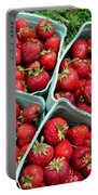 Strawberries In A Box On The Green Grass Portable Battery Charger