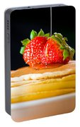 Strawberry Butter Pancake With Honey Maple Sirup Flowing Down Portable Battery Charger