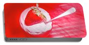 Strawberry Yogurt In Round Bowl With Spoon Portable Battery Charger
