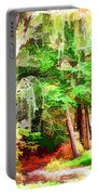 Streams In A Wood Covered With Leaves Portable Battery Charger