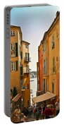 Street Scene In Villefranche Portable Battery Charger