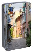 Street With Sunshine In Villefranche-sur-mer Portable Battery Charger