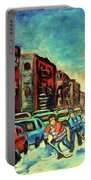 Streetscenes Of Montreal Hockey Paintings By Montreal Cityscene Specialist Carole Spandau Portable Battery Charger