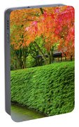 Strolling Path Lined With Japanese Maple Trees In Fall Portable Battery Charger