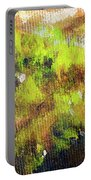 Structure Of Wooden Log Covered With Moss, Closeup Painting Detail. Portable Battery Charger