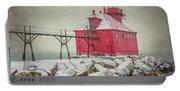 Sturgeon Bay Pierhead Lighthouse Storm Portable Battery Charger