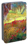 Poppies And Olive Trees Portable Battery Charger