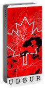 Sudbury Street Map - Sudbury Canada Road Map Art On Canada Flag Symbols Portable Battery Charger