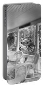 Summer Day On The Victorian Veranda Bw 03 Portable Battery Charger