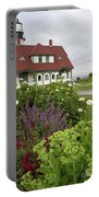 Summer Flowers And Portland Head Light #134775 Portable Battery Charger by John Bald