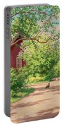 Summer Landscape With Hens Portable Battery Charger
