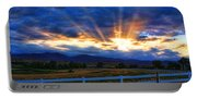 Sun Beams In The Sky At Sunset Portable Battery Charger