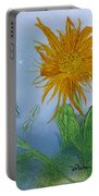 Sun Flower And Dragonflies  At Dusk Portable Battery Charger