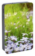 Sun-kissed Meadows With White Star Flowers Portable Battery Charger
