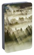 Sun Rays Over Foggy Oregon Forest Portable Battery Charger