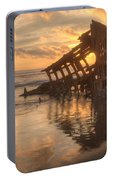 Sun Setting Behind Peter Iredale 0089 Portable Battery Charger