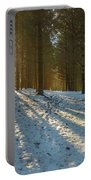 Sun Setting On Winter Woods Portable Battery Charger