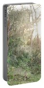 Sun Shining Through Trees In A Mysterious Forest Portable Battery Charger
